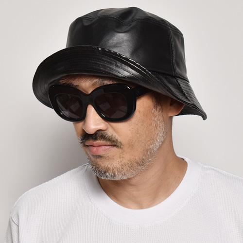 New Hattan/Leather Bucket Hat(ニューハッタン レザーハット)ブラック [a-3434]