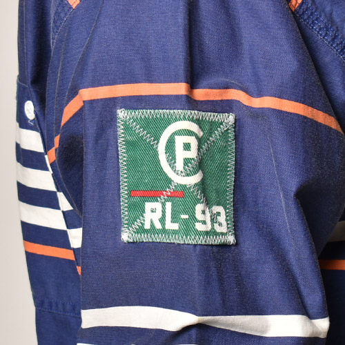 ・Polo Ralph Lauren/RL-93 L/S Cotton Shirt(ラルフローレン コットンシャツ)ネイビー×ホワイト×オレンジ/サイズL [z-5039]