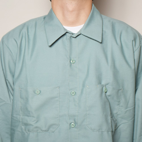 Red Kap×US/L/S Wide Silhouette Work Shirt(レッドキャップ×アス ワイドシルエットシャツ)ライトグリーン [a-3611]