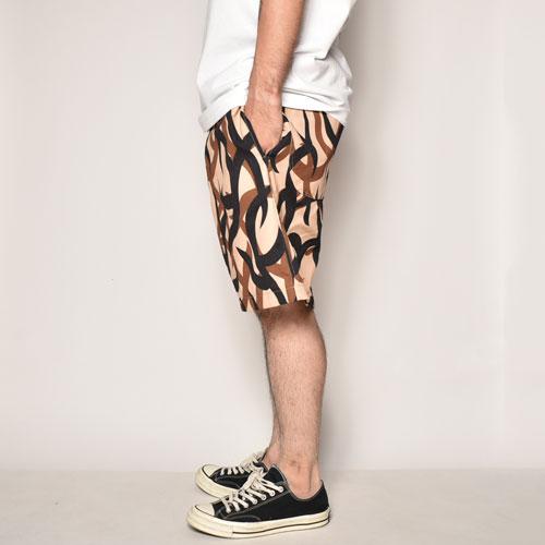 Tribal Camo Easy Short Pants(トライバルカモショートパンツ)ベージュ×ブラック×ブラウン [a-3985]