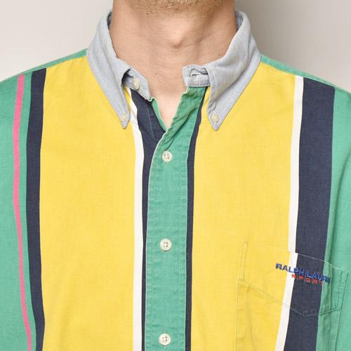・Polo Sport/L/S Cotton Shirt(ポロスポーツ コットンシャツ)イエロー×グリーン×ネイビー/サイズXL [z-5040]