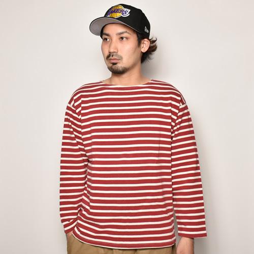 ・Old L/S Stripe Basque Shirt(L/Sバスクシャツ)レッド×ホワイト/身幅52cm [z-4373]