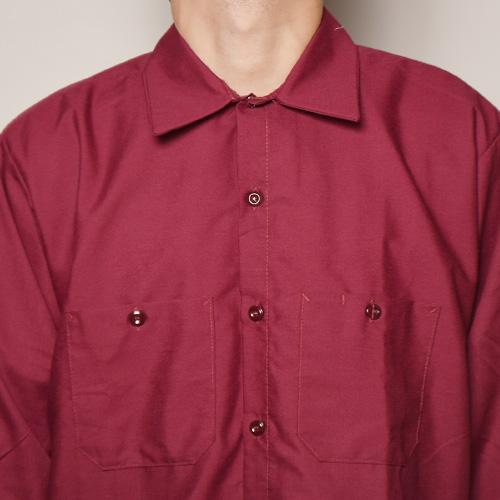 Red Kap×US/L/S Wide Silhouette Work Shirt(レッドキャップ×アス ワイドシルエットシャツ)バーガンディ [a-3613]