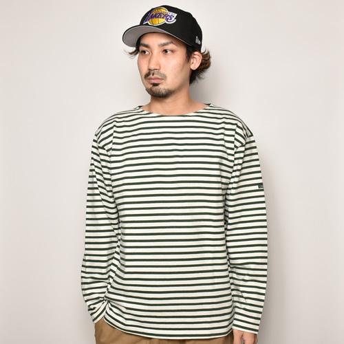 ・Old L/S Stripe Basque Shirt(L/Sバスクシャツ)ホワイト×グリーン/身幅54cm [z-4374]