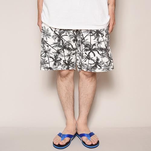 Palm Tree Patterned Easy Short Pants(パームツリーイージーショートパンツ)ホワイト×ブラック [a-3222]