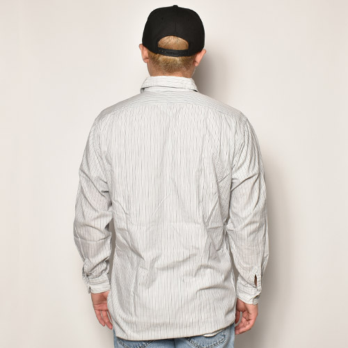 ・RRL/L/S Cotton Shirt(ダブルアールエル コットンシャツ)ホワイト×ネイビー×ブルー/サイズS [z-5044]
