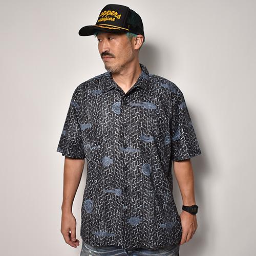 Harley Davidson/Cotton Open Collered S/S Shirt(ハーレーダビッドソン シャツ)ブラック [a-5207]