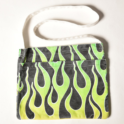 Flames Sacoche Bag(フレームス サコッシュバッグ)ブラック×イエロー/ライムグリーン [a-3932]