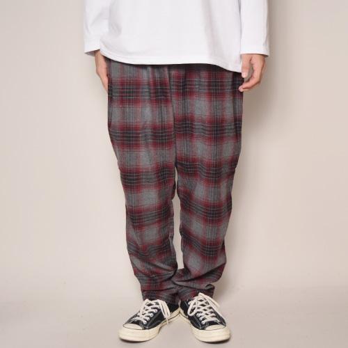 Flannel Checked Easy Pants(フランネルチェックイージパンツ)グレー×バーガンディ×ブラック [a-3408]