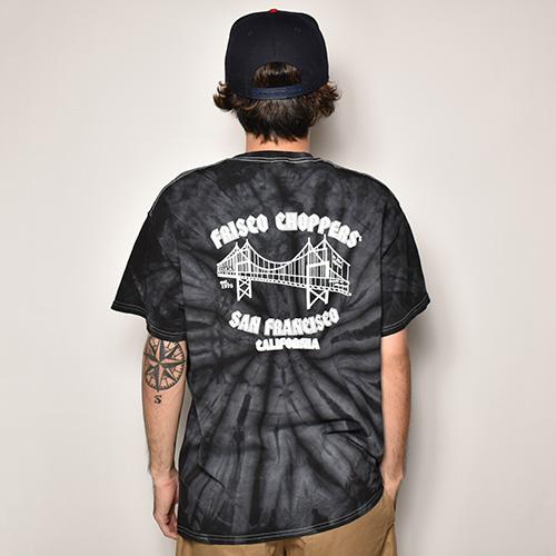 415 Clothing×US/Tie Dye Frisco Choppers T-shirt(415クロージング×アス Tシャツ)ブラックタイダイ [a-3934]