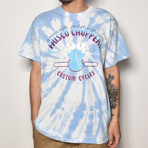 415 Clothing×US/Tie Dye Frisco Choppers T-shirt(415クロージング×アス Tシャツ)スカイブルータイダイ [a-3935]