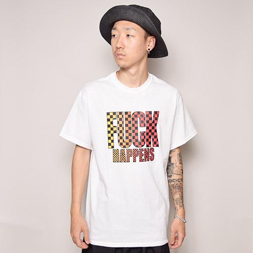 Fuck Happens S/S T-Shirt(ファックハプンズ Tシャツ)ホワイト×イエロー×レッド [a-2532]