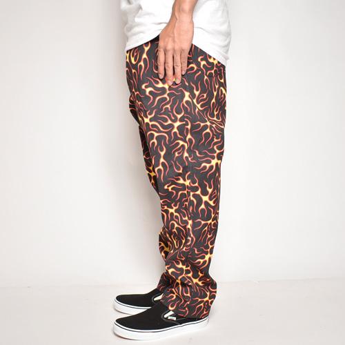 Multi Flames Easy Pants(マルチフレームスイージーパンツ)ブラック×レッド/イエロー [a-5353]