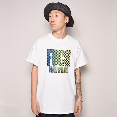 Fuck Happens S/S T-Shirt(ファックハプンズ Tシャツ)ホワイト×グリーン×ブルー [a-2533]