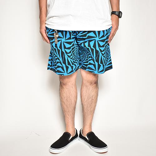 Crazy Spiral Patterned Easy Short Pants(クレイジースパイラルイージーショートパンツ)ターコイズブルー×ブラック [a-5095]