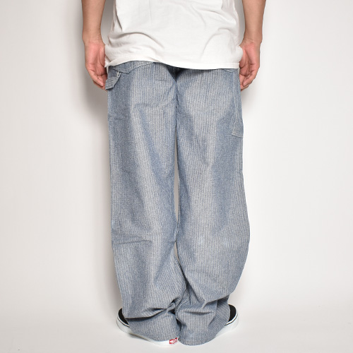 ・US Customized/All In One Herringbone Easy Pants(アスカスタマイズ ワークイージーパンツ)ネイビー×ホワイト/サイズW32-38 [z-5636]