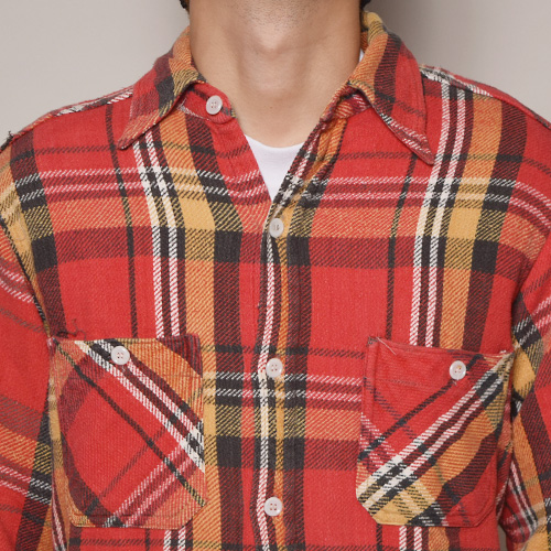 ・Big Mac/L/S Heavy Flannel Shirts(ビッグマック フランネルシャツ)レッド×イエロー/サイズM [z-2234]