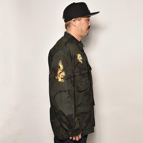 ・Us Customized Vietnam War Souvenir Shirt Jacket(USミリタリー×アス シャツジャケット)オーバーダイブラックウッドランドカモ [z-5122]