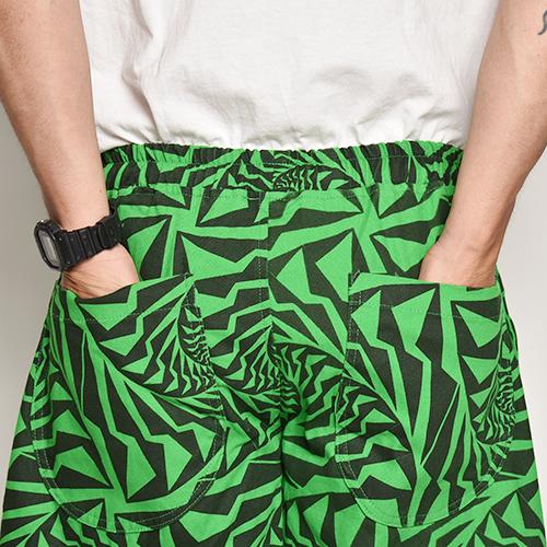 Crazy Spiral Patterned Easy Short Pants(クレイジースパイラルイージーショートパンツ)グリーン×ブラック [a-5096]