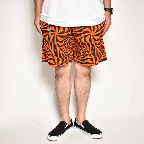 Crazy Spiral Patterned Easy Short Pants(クレイジースパイラルイージーショートパンツ)オレンジ×ブラック [a-5097]