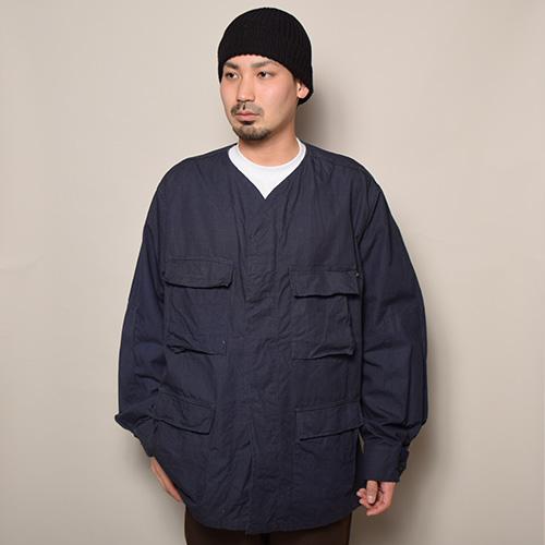 US Customized/US Military 4Pocket BDU Baseball Shirt Jacket(USミリタリー×アス ベースボールシャツジャケット)ネイビー [a-3627]