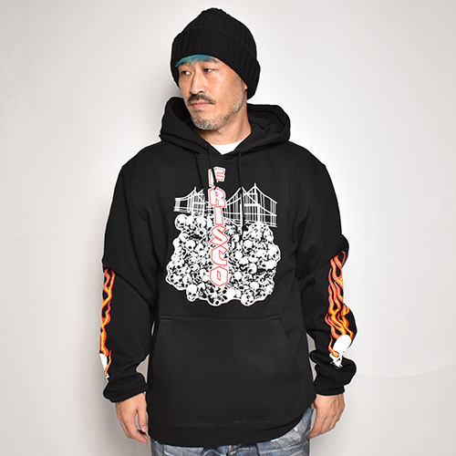 415 Clothing/Skull & Bridge Pullover Hoodie(415クロージング スウェットパーカー)ブラック [a-3590]