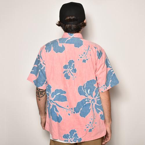 ・Reyn Spooner/Vintage Aloha Shirts(レインスプーナー アロハシャツ)ピンク×ブルー/サイズL [z-4240]