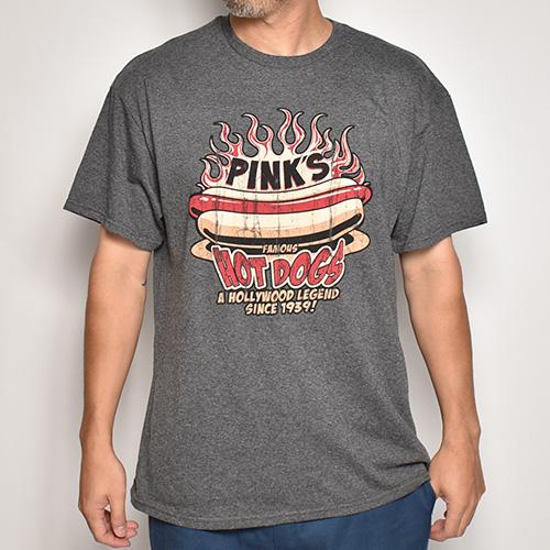 Pink's Hot Dogs/Flames S/S T-Shirt(ピンクスホットドック Tシャツ)ヘザーチャコール [a-5268]