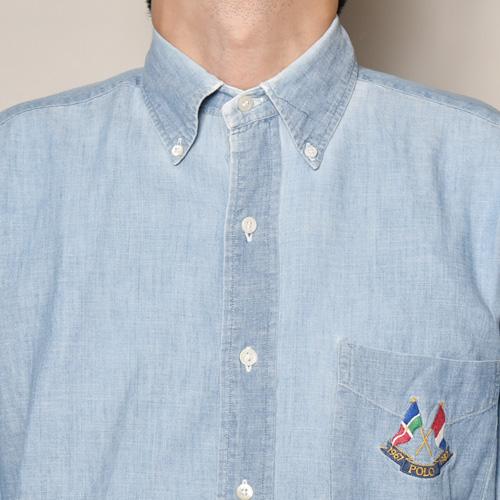・Polo Ralph Lauren/L/S Chambray Shirt(ラルフローレン シャンブレーシャツ)ブルーシャンブレー/サイズM [z-3408]