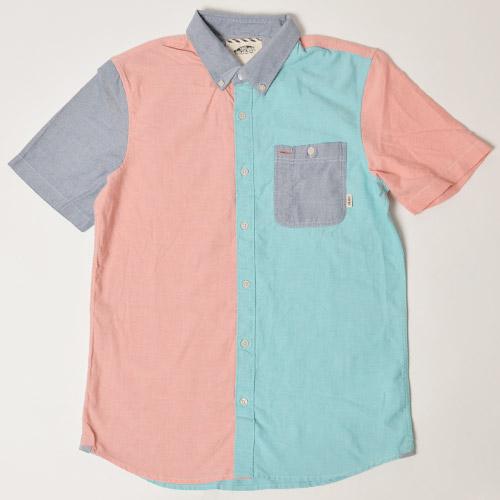 Vans/Rusden Block B.D. S/S Shirt(バンズ S/Sシャツ)ピンク×グリーン×ブルー [n-9089]