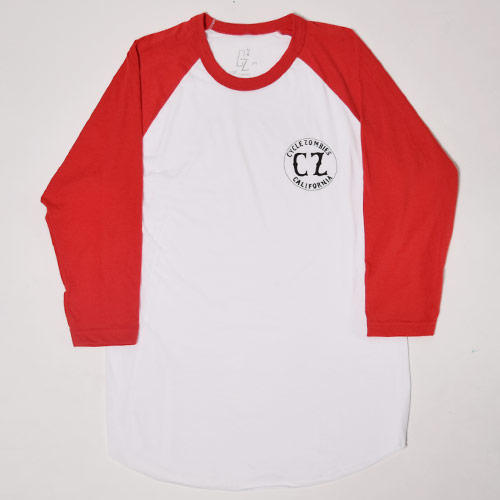 Cycle Zombies/Califonia 3/4 Sleeve T-Shirt(サイクルゾンビ 七分丈Tシャツ)ホワイト×レッド [a-0776]