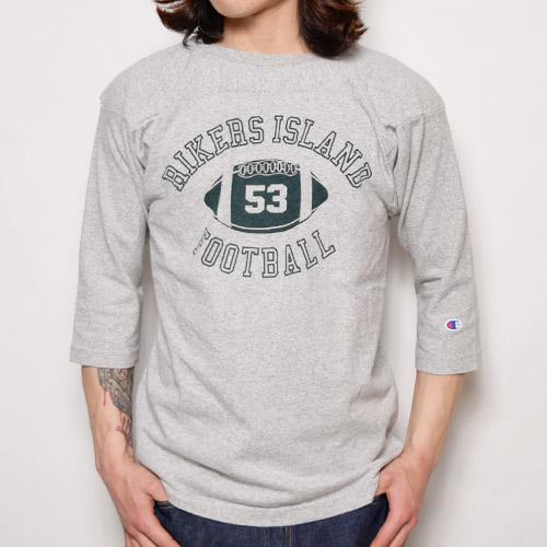 Champion/3/4Sleeve Football T-Shirt/T1011(チャンピオン フットボールTシャツ)グレー [a-0789]