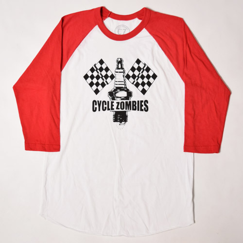 Cycle Zombies/Champion 3/4 Sleeve T-Shirt(サイクルゾンビ 七分丈Tシャツ)ホワイト×レッド [a-1444]