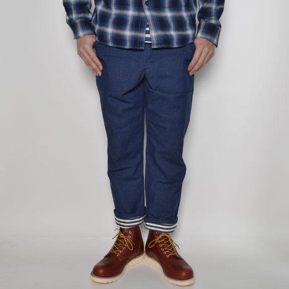 Gung Ho×US/Jodhpurs Style Pants(ガンホー×アス 九分丈ロールアップパンツ)インディゴ×ボーダー [n-7864]