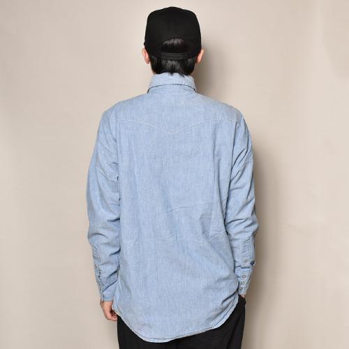 ・Carhartt/L/S Chambray Shirt(カーハート シャンブレーシャツ)ブルーシャンブレー/サイズM相当 [z-3410]