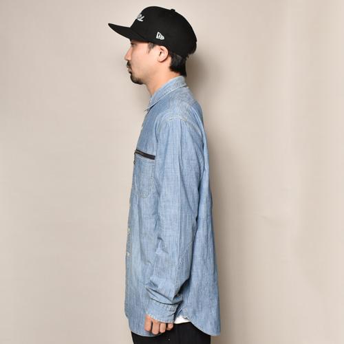 ・Polo Ralph Lauren/L/S Chambray Shirt(ラルフローレン シャンブレーシャツ)ブルーシャンブレー/サイズL [z-3412]