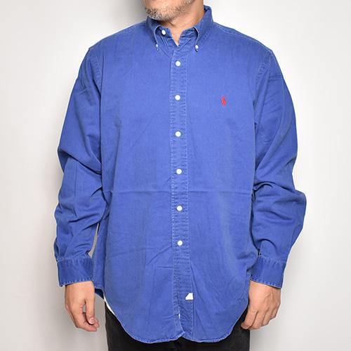 ・Polo Ralph Lauren/L/S Cotton Solid Shirt(ラルフローレン コットンシャツ)ブルー/サイズL [z-5695]