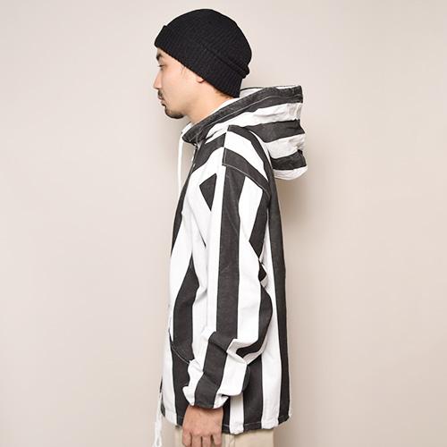 Wide Striped Zip-Up Easy Hoodie(ワイドストライプイージーパーカー)ホワイト×ブラック [a-3342]