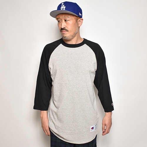 Champion/3/4 Sleeve Raglan Baseball T-Shirt(チャンピオン ベースボールボールTシャツ)グレー×ブラック [a-4830]