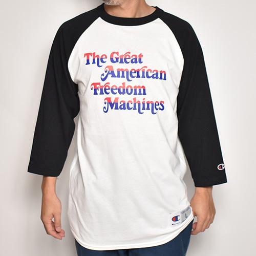 The Great American Freedom Machines 3/4 Raglan Tee(ザ・グレートアメリカンフリーダムマシーン Tシャツ)ホワイト×ブラック [a-5273]