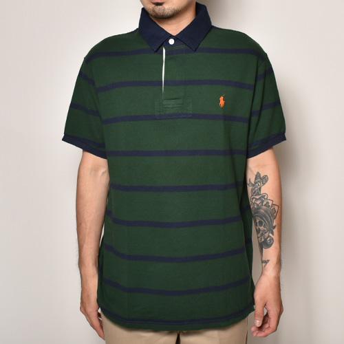・Polo Ralph Lauren/S/S Polo Shirt(ラルフローレン ポロシャツ)グリーン×ネイビー/サイズL [z-3889]
