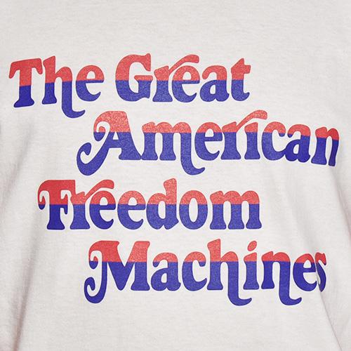 The Great American Freedom Machines 3/4 Raglan Tee(ザ・グレートアメリカンフリーダムマシーン Tシャツ)ホワイト×レッド [a-5274]
