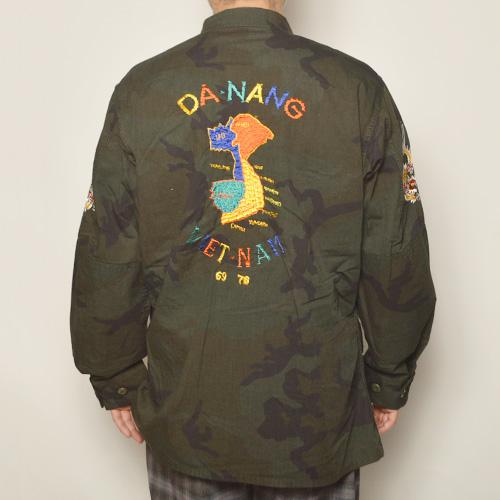・Us Customized Vietnam War Souvenir Shirt Jacket(USミリタリー×アス シャツジャケット)オーバーダイブラックウッドランドカモ [z-5130]