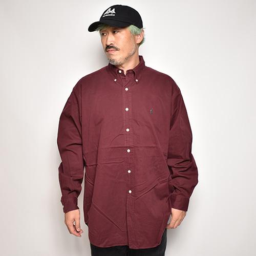 ・Polo Ralph Lauren/L/S Cotton Solid Shirt(ラルフローレン コットンシャツ)バーガンディ/サイズL [z-5699]