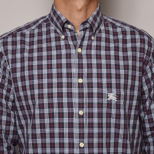 ・Burberry/Old L/S Check Shirt(バーバリー チェックシャツ)ネイビー×ホワイト×レッド/サイズS [z-1200]