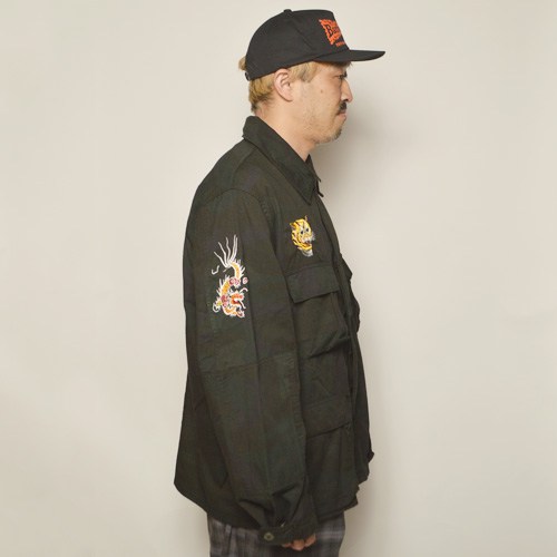 ・Us Customized Vietnam War Souvenir Shirt Jacket(USミリタリー×アス シャツジャケット)オーバーダイブラックウッドランドカモ [z-5131]