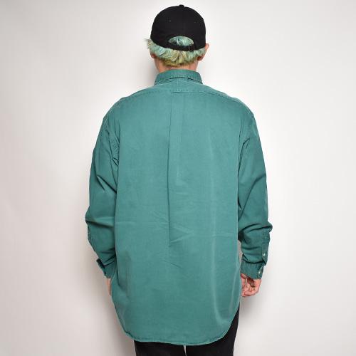 ・Polo Ralph Lauren/L/S Cotton Solid Shirt(ラルフローレン コットンシャツ)グリーン/サイズL [z-5702]