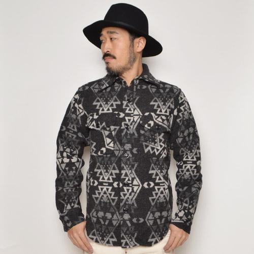 Johnson Woolen Mills×US/4Pocket Wool Shirts Jacket(ジョンソン×アス ウールシャツジャケット)ブラック×グレー [n-9618]