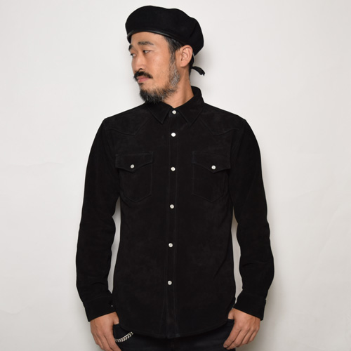 Five Brother/Cow Suede Western Shirt(ファイブブラザー スウェードウエスタンシャツ)ブラック [a-0477]