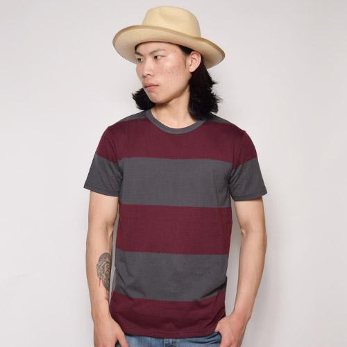 Vans/Wylie Border T-shirt(バンズ ボーダーTシャツ)バーガンディ×グレー [a-0876]